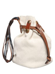 Marni Bindle Bucket Suede Bag Ivory