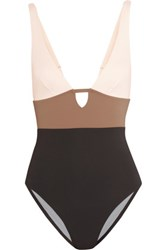 Iris And Ink Color Block Cutout Swimsuit Brown
