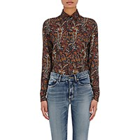Saint Laurent Women's Paisley Button Front Shirt Navy Red No Color Navy Red No Color