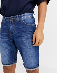 Tom Tailor 5 Pocket Denim Short In Mid Stone Wash Blue