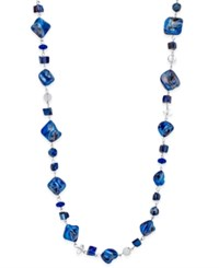 Inc International Concepts Silver Tone Blue Bead Extra Long Length Necklace Only At Macy's