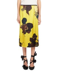 Dries Van Noten Salvado Floral Print Silk Skirt Yellow