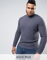 Asos Plus Cable Knit Jumper With Rib Detail Denim Blue