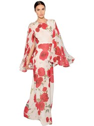 Giambattista Valli Roses Printed Silk Georgette Dress