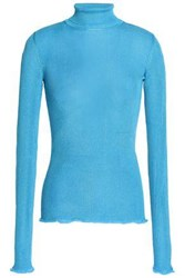 Missoni Ruffle Trimmed Ribbed Knit Turtleneck Top Azure