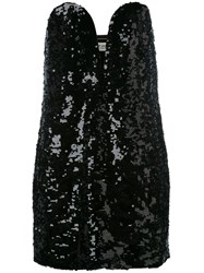 Saint Laurent Sequin Strapless Dress Women Silk 40 Black