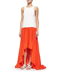Alexis Lauri Colorblock Pleated Maxi Dress Women's Red Orange