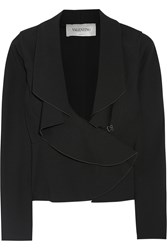 Valentino Draped Ruffle Trimmed Stretch Jersey Blazer Black