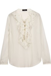 Theory Rianala Lace Up Ruffled Silk Georgette Blouse Ivory