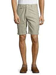Publish Striped And Textured Cotton Shorts Olive