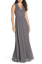 Heartloom Charlee V Neck Chiffon Gown Steel