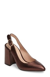 Shellys Women's London 'Chester' Slingback Glitter Pump Bronze Leather