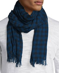 John Varvatos Lightweight Gingham Scarf Regal Blue