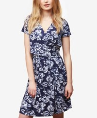 Motherhood Nursing Dress Web Only Short Sleeve Lift Up Double Opening Faux Wrap Navy Egret Floral