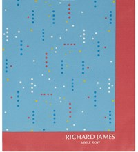 Richard James Polka Dot Silk Pocket Square Aqua