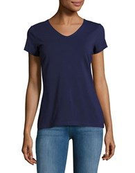 Lord And Taylor Organic V Neck Tee Blue
