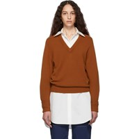 Chloe Brown Cashmere Iconic V Neck Sweater
