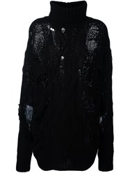 Faith Connexion Distressed Oversized Sweater Black