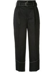 Loveless Cropped Wide Leg Trousers Black