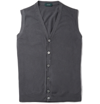 Incotex Garment Dyed Knitted Cotton Waistcoat Blue