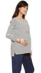 Hatch The Bateau Top Black And White Stripe