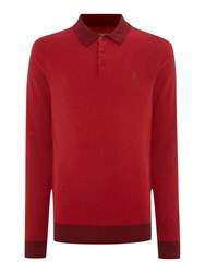 Peter Werth Hemmingford Cut Knitted Polo Shirt Dark Red