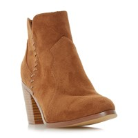 Head Over Heels Pandoro Whipstitch Heeled Ankle Boots Tan