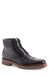 Men's J And M 1850 'Karnes' Brogue Cap Toe Boot Black Dark Grey Leather