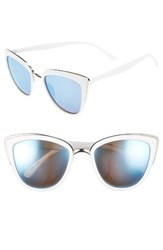 Junior Women's Bp. 55Mm Metal Rim Cat Eye Sunglasses White Blue White Blue
