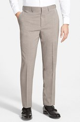 Men's Michael Kors Flat Front Stretch Wool Trousers Light Brown