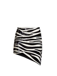 Saint Laurent Zebra Sequinned Asymmetric Mini Skirt Black White