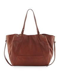 Kooba Kingsley Pebbled Leather Tote Bag Brown Metallic