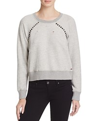 N Philanthropy Kika Distressed Studded Sweatshirt Heather Grey