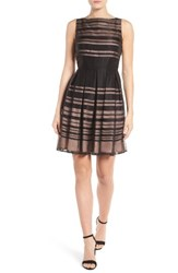 Ivanka Trump Women's Shadow Stripe Fit And Flare Dress