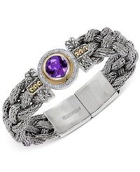 Effy Amethyst 3 Ct. T.W. And Diamond 1 5 Ct. T.W. Bracelet In Sterling Silver And 18K Gold
