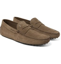 Tod's Gommino Suede Driving Shoes Mushroom