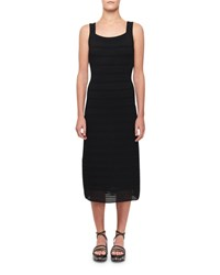 Alaia Sleeveless Fitted Ribbed Midi Dress Black