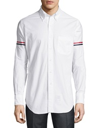 Thom Browne Striped Armband Oxford Shirt White