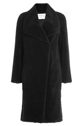 Velvet Faux Shearling Coat Black
