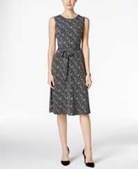 Charter Club Petite Floral Print Fit And Flare Dress Only At Macy's Deep Black Combo