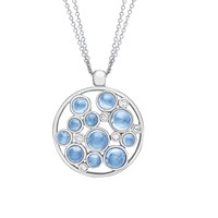 London Road 9Ct Gold Diamond Bubble Cluster Pendant White Gold Blue Topaz