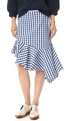 Marques Almeida Gingham Skirt Blue Gingham