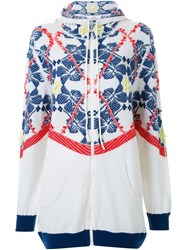 Barrie Floral Knit Zipped Hoodie White