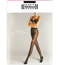 Wolford Rhoda Patterned Leg Support Tights Black