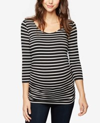 A Pea In The Pod Maternity Ruched Tunic Black White Stripe