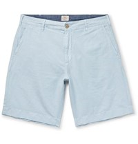 Faherty Malibu Linen And Cotton Blend Shorts Light Blue