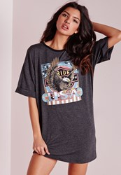 Missguided Printed Graphic Rock Jersey T Shirt Dress Grey