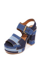 See By Chloe Eva Platform Sandals Navy Light Blue