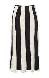 Salvatore Ferragamo Striped Pencil Skirt Black