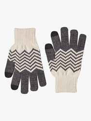French Connection Chevron Touch Screen Gloves Black Classic Cream